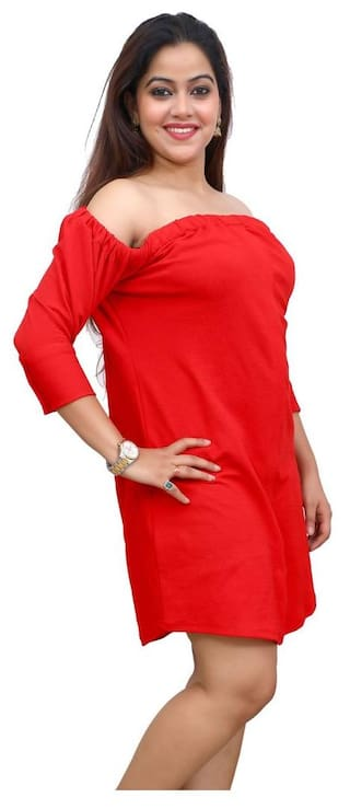 COTTON DRESS DATE FIRST RED POLY SCRwxCOqB