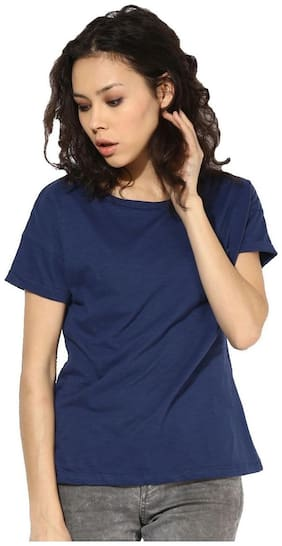 First Row Women Solid Round neck T shirt - Blue