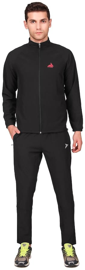 FITINC Men Black Solid Regular Fit Track Suit