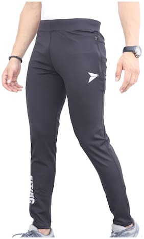 Fitinc Premium Lycra Grey Track Pants with Two Side Zipper Pockets & Logo - Stretchable & Absorbent Black Lower for Men- Stylish & Comfortable Slim Fit Sports Joggers for Workout & Casual Wear ...