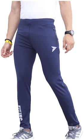 Fitinc Premium Lycra Grey Track Pants with Two Side Zipper Pockets & Logo - Stretchable & Absorbent Blue Lower for Men- Stylish & Comfortable Slim Fit Sports Joggers for Workout & Casual Wear ...