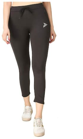 Fitinc Premium Stretchable Black Trackpant with Zippers Pockets For Women