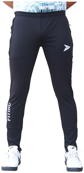 Fitinc Apparels Men Black Solid Regular fit Track pants