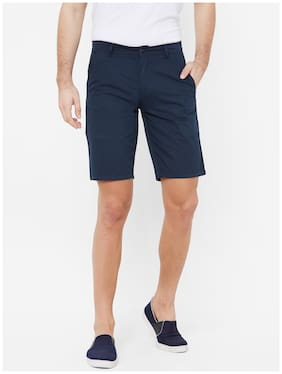 Fitz Cotton Solid Navy Blue Color Sports Shorts for Men