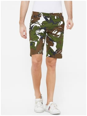 Fitz Cotton Camouflage Olive Color Sports Shorts for Men