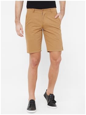 Fitz Cotton Solid Brown Color Sports Shorts for Men