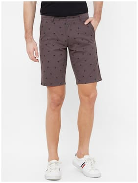 Fitz Cotton Printed Grey Color Sports Shorts for Men