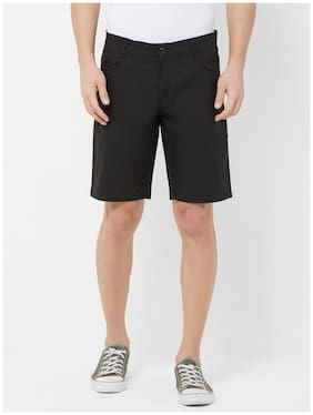 Fitz Men Black Regular Fit Regular Shorts