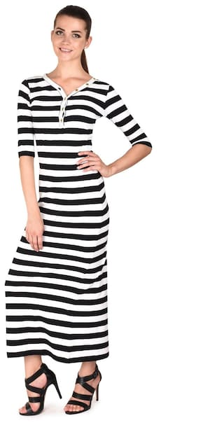 Five Stones Women's Black & White Cotton Interlock Stripe Maxi Dress