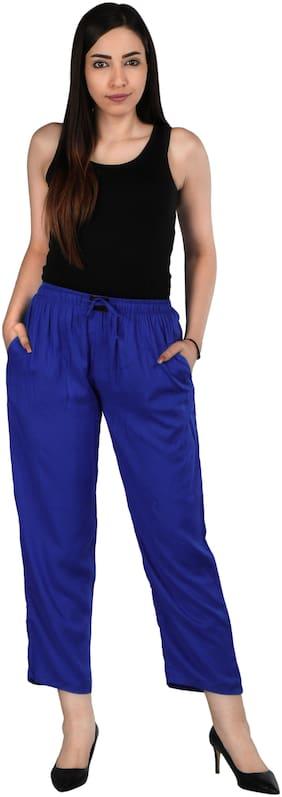 Flamboyant Women Regular fit Mid rise Solid Regular pants - Blue