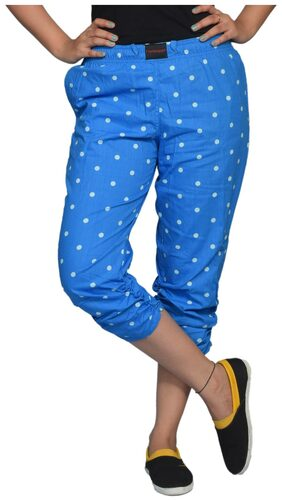 Flamboyant Blue Cotton Capri (Size-XXL)