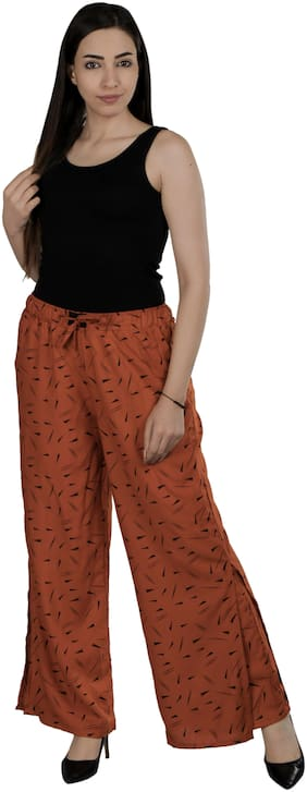 Flamboyant Brown Printed Reyon Slit Palazzo For Women