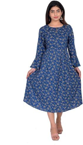 Flamboyant Blue Floral A-line dress
