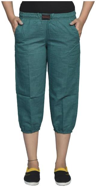 Flamboyant Green Cotton Capri (Size-S)