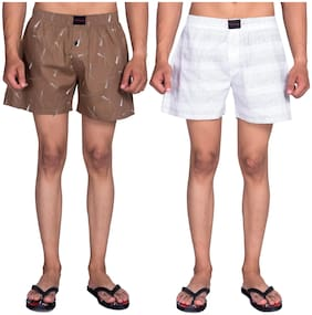 Flamboyant Men Brown & White Regular Fit Regular Shorts