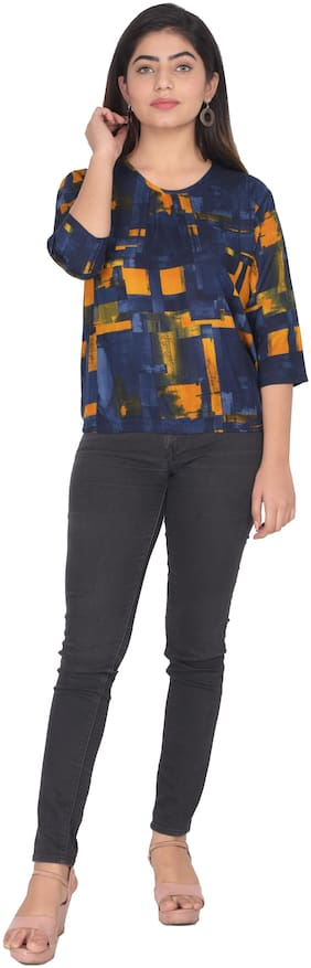Flamboyant Women Self design Regular top - Blue