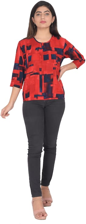 Flamboyant Women Self design Regular top - Red