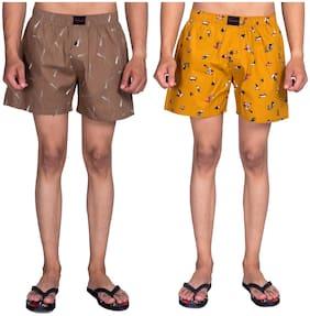 Flamboyant Men Brown & Yellow Regular Fit Regular Shorts