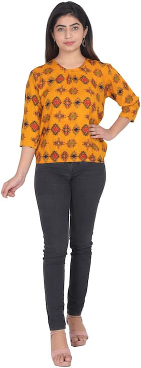 Flamboyant Women Self design Regular top - Yellow