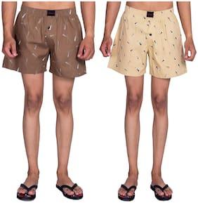 Flamboyant Men Brown & Beige Regular Fit Regular Shorts