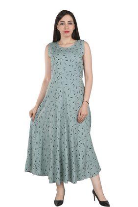 Flamboyant Rayon Printed Fit & Flare Dress Multi