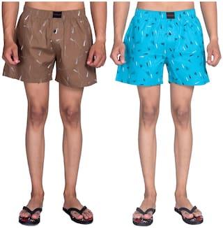 Flamboyant Men Brown & Blue Regular Fit Regular Shorts