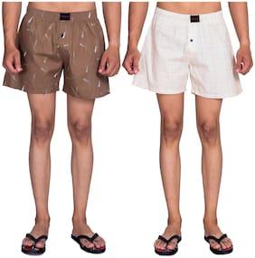 Flamboyant Men Brown & White Regular Fit Regular Shorts