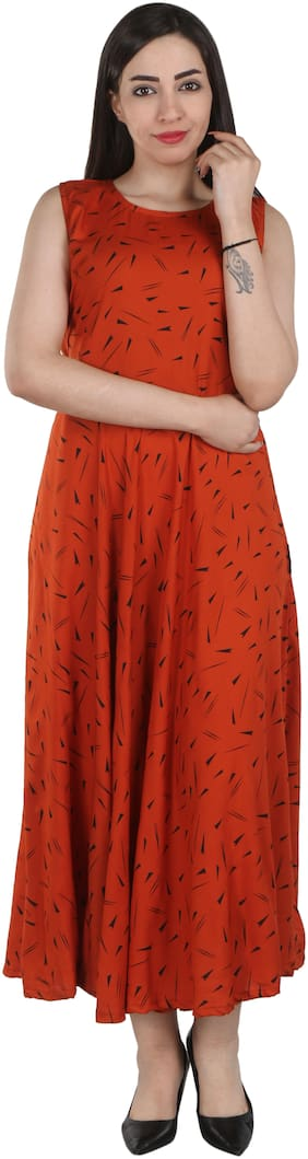 Flamboyant Orange Printed Fit & flare dress