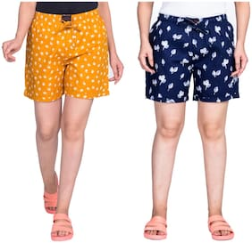 Flamboyant Women Printed Regular shorts - Yellow & Blue