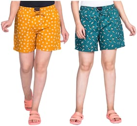 Flamboyant Women Printed Regular shorts - Yellow & Turquoise