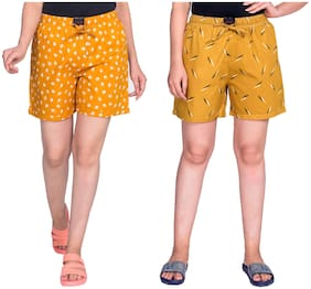 Flamboyant Women Printed Regular shorts - Yellow