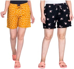 Flamboyant Women Printed Regular shorts - Yellow & Black