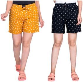 Flamboyant Women Printed Regular shorts - Yellow & Black