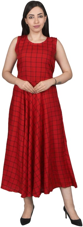 Flamboyant Rayon Printed Fit & Flare Dress Red