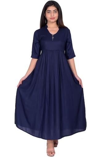 Flamboyant Blue Solid Blouson dress