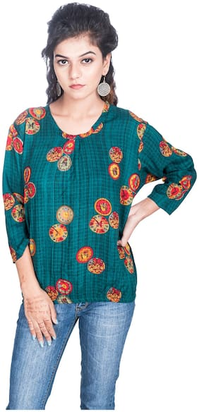 Flamboyant Women Rayon Printed Round Neck Regular Fit Top Turquoise color