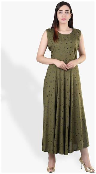 Flamboyant Women's Reyon Printed One Piece Middy Dress (Free Size up to 44-XXL)