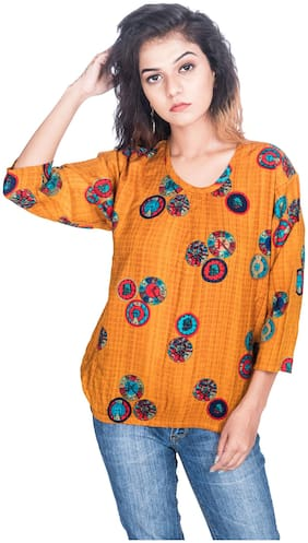 Flamboyant Women Rayon Printed - Regular Top Orange