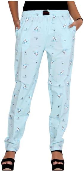 Flamboyant Women SkyBlue Printed Cotton Pyjama