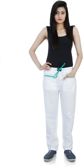 Flamboyant Women Cotton Solid Pyjama - White