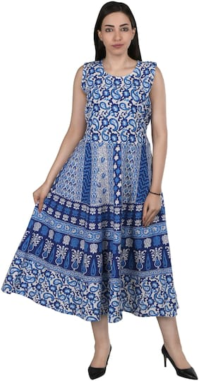 Flamboyant Blue Printed Fit & flare dress