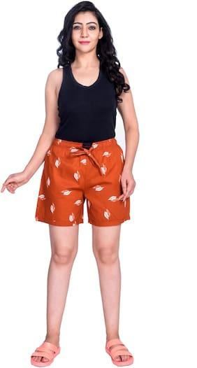 Flamboyant Women Cotton Printed Orange Regular Shorts