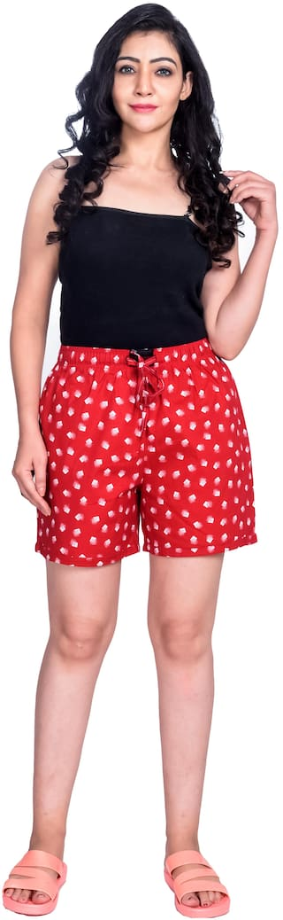 Flamboyant Women Printed Regular shorts - Red