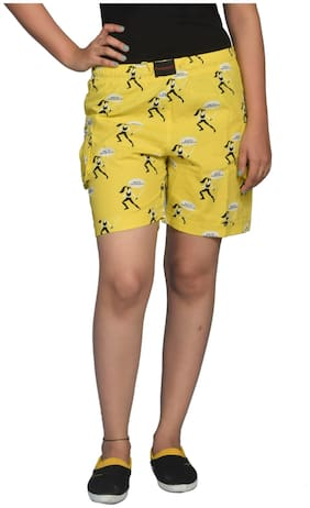 Flamboyant Yellow Cotton Shorts (Size-S)