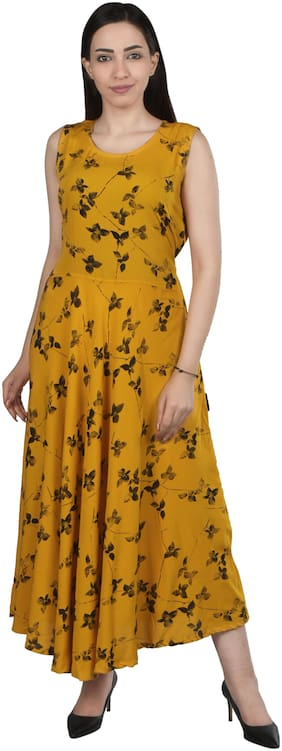Flamboyant Yellow Printed Fit & flare dress