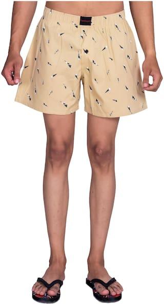 Flamboyant Men Beige Regular Fit Regular Shorts