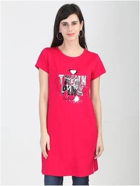 Fleximaa Women Printed Regular top - Pink