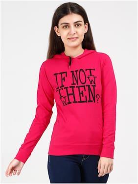 Fleximaa Women Printed Hoodie - Pink