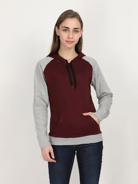 Fleximaa Women Colourblocked Hoodie - Grey & Maroon