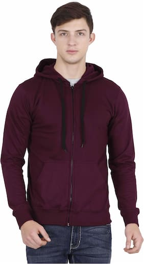 Fleximaa Men Maroon Hooded Sweatshirt